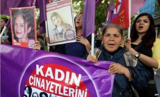 Women hold banners at a march protesting violence against women in Ankara