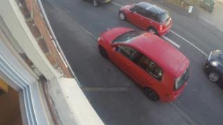 Car mounts kerb in Nanpantan Road in Loughborough