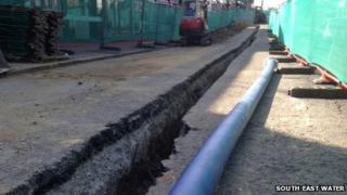 Water mains being laid