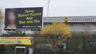 The billboard outside Notts County FC
