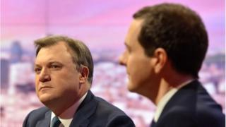 Ed Balls, MP, Shadow Chancellor (L) and George Osborne, MP, Chancellor of the Exchequer (R)