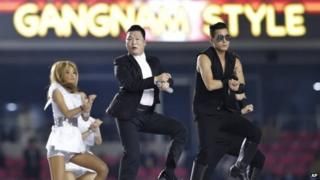 "South Korean rapper Psy performs ""Gangnam Style"" during the opening ceremony for the 17th Asian Games in Incheon, South Korea, Friday, Sept. 19, 2014."