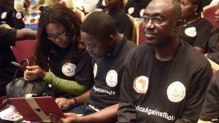 Volunteer Nigerian health workers on a mission to fight the Ebola virus in affected West African countries