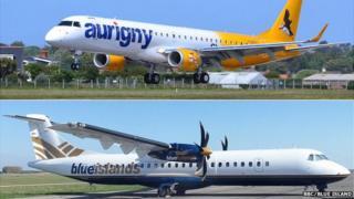 Aurigny and Blue Island composite image