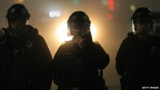 Police officers appeared in East Oakland, California, on 4 December 2014