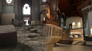 l-r All Souls Church in Bolton before the project and after work was completed