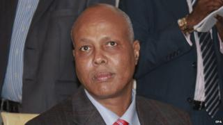 "A file photo dated 12 December 2013 shows Somalia""s then newly-appointed Prime Minister Abdiweli Sheikh Ahmed during a news conference in Mogadishu, Somalia."