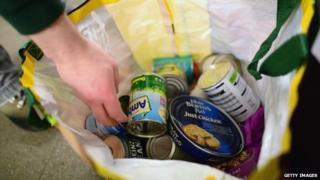 tins of food in a bag