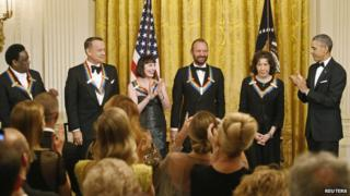 Al Green, Tom Hanks, Patricia McBride, Sting and Lily Tomlin with President Obama