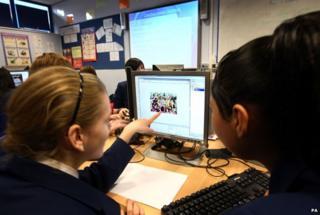 School children computing