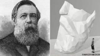 Friedrich Engels and an artist's impression of the beard sculpture