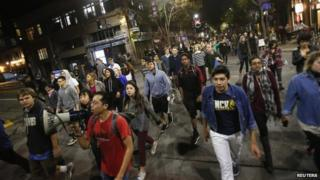 Protesters in Berkeley, California