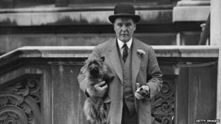 FE Smith with a terrier dog in the 1920s
