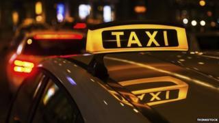 A taxi at night