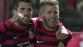 Andy Bishop (R) has scored in every round of the FA Cup so far for Wrexham and wants to draw Manchester United in round three