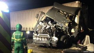 Crashed lorry on the M25