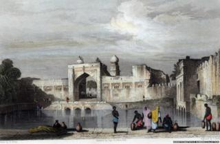 Painting of a water reservoir built by Abyssinian eunuch Malik Sandal in the 17th Century