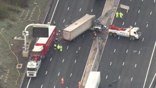Aerial footage of the M25 crash near Waltham Abbey