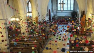 Pom pom art in Cambridgeshire church