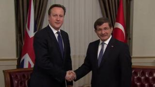 David Cameron meeting his Turkish counterpart Ahmet Davutoglu
