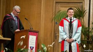 Brian O'Driscoll at graduation ceremony at Queen's University Belfast