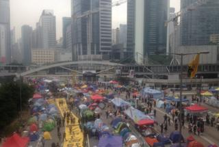 Wide shot of protest camp in Hong Kong's Admiralty district