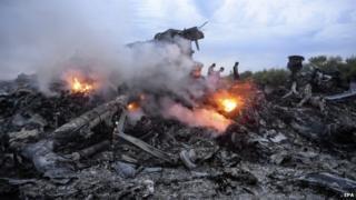 Wreckage of MH17 flight in eastern Ukraine. Photo: July 2014