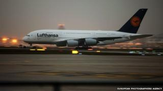 An Airbus A380 of German air carrier Lufthansa