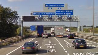 Junction 3a on the M6 in Warwickshire