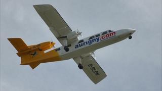 Aurigny trislander in flight