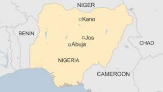 BBC map showing Nigerian cities of Jos and Kano