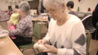 Bernice Stannard, part of the Burtonwood sewing group