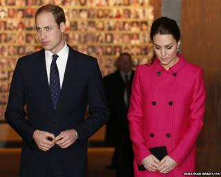The Duke and Duchess of Cambridge leave the In Memoriam exhibit during a visit to the 9/11 memorial Museum, New York City