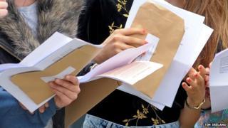Close up GCSE results envelopes