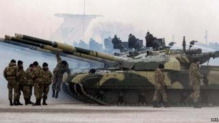 Ukrainian troops at Chuguyev base