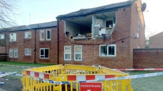 The scene of the explosion in Taunton