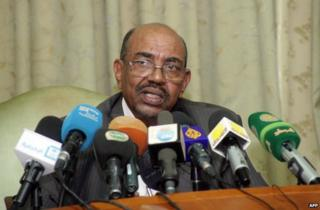 Omar al-Bashir at a news conference in Khartoum, 30 November