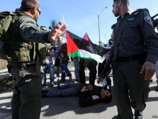 Israeli police confront Palestinian protesters in Bethlehem, 13 December