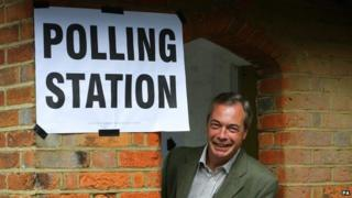 Nigel Farage at a polling booth in May