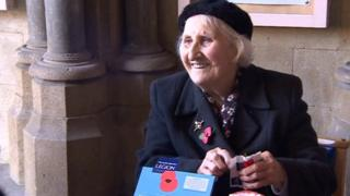 Olive Cooke selling poppies in 2014