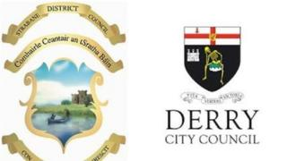 Council crests of Strabane and Derry city council
