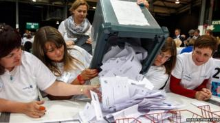 Ballots arrive to be counted at the Aberdeen Exhibition and Conference Centre