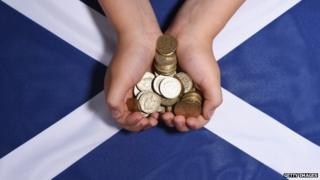 Coins and Saltire flag