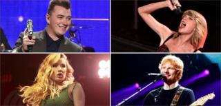 Sam Smith, Taylor Swift, Ed Sheeran and Iggy Azalea