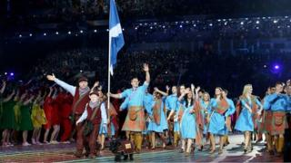 Team Scotland at the opening ceremony