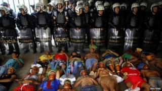 Indigenous protesters in Brasilia