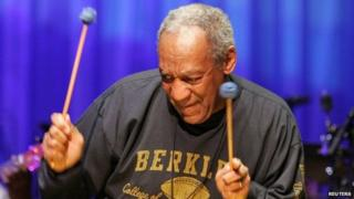 Comedian Bill Cosby plays the vibraphone in Boston, Massachusetts (January 2006)