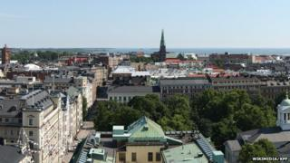 A view over the rooftops of Helsinki