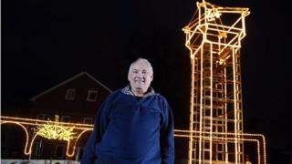 Edward Hayes in front of his tower