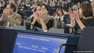 MEPs applauding Palestine vote, 17 Dec 14